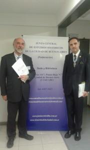 Con Prof Arnaldo Miranda Tumbarello Pte. de la junta central de Asuntos Historicos de Buenos Aires